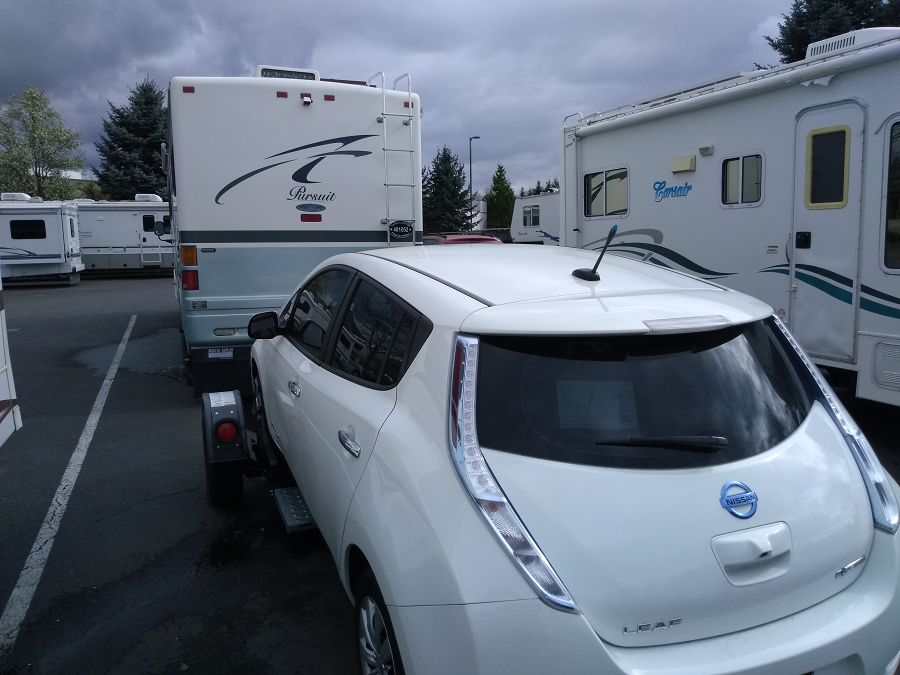 Towing our Nissan Leaf behind our RV
