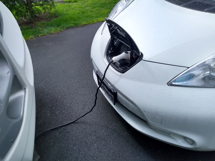 Charging a Nissan Leaf near our RV